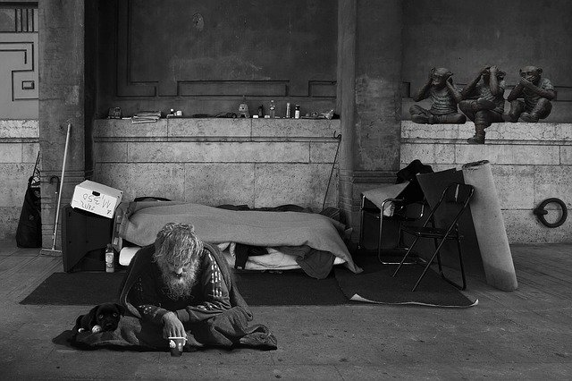 Homeless man in black and white